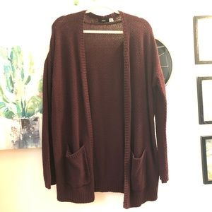ANTHROPOLOGIE BDG Maroon Long Cardigan Size L